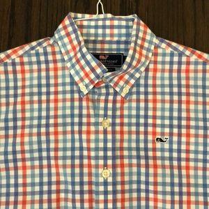Vineyard Vines boys checked button down shirt LG